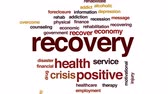 recession : Recovery animated word cloud, text design animation.