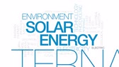 coletor : Solar energy animated word cloud, text design animation. Kinetic typography.