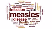 imunização : Measles animated word cloud, text design animation.