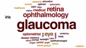optometria : Glaucoma animated word cloud, text design animation.