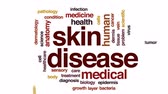 dermis : Skin disease animated word cloud, text design animation. Stock Footage