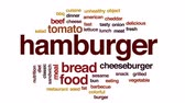 queijo cheddar : Hamburger animated word cloud, text design animation. Vídeos