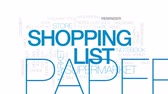 notificação : Shopping list animated word cloud, text design animation. Kinetic typography.