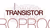 anakart : Transistor animated word cloud, text design animation. Kinetic typography. Stok Video