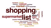 memorando : Shopping list animated word cloud, text design animation.