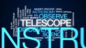 ocular : Telescope animated word cloud, text design animation. Stock Footage