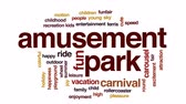 movimento circular : Amusement park animated word cloud, text design animation.