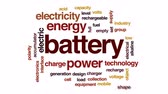 батарея : Battery animated word cloud, text design animation.