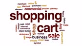 zakupy online : Shopping cart animated word cloud, text design animation.