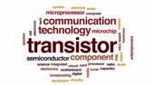 computer chip : Transistor animated word cloud, text design animation.