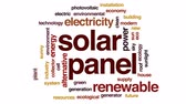 коллектор : Solar panel animated word cloud, text design animation.