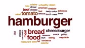 babeczka : Hamburger animated word cloud, text design animation. Wideo