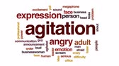 agitated : Agitation animated word cloud, text design animation. Stock Footage