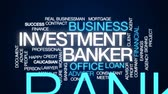 ипотека : Investment banker animated word cloud, text design animation. Стоковые видеозаписи