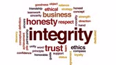 dedicado : Integrity animated word cloud, text design animation.