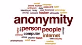 ismeretlen : Anonymity animated word cloud, text design animation.