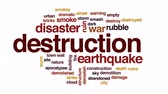 deprem : Destruction animated word cloud, text design animation.