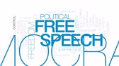 demokratický : Free speech animated word cloud, text design animation. Kinetic typography.