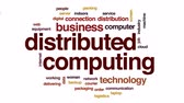 logistika : Distributed computing animated word cloud, text design animation.