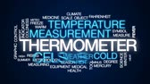 индикатор : Thermometer animated word cloud, text design animation. Стоковые видеозаписи