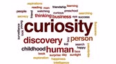 książka : Curiosity animated word cloud, text design animation.