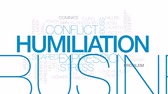 humiliation : Humiliation animated word cloud, text design animation. Kinetic typography. Stock Footage