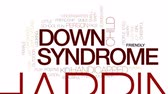 jardim de infância : Down syndrome animated word cloud, text design animation. Kinetic typography.