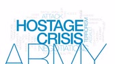hostage : Hostage crisis animated word cloud, text design animation. Kinetic typography. Stock Footage