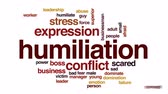 humiliation : Humiliation animated word cloud, text design animation. Stock Footage