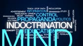 opinião : Indoctrination animated word cloud, text design animation.