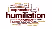 kurban : Humiliation animated word cloud, text design animation. Stok Video