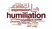 злоупотребление : Humiliation animated word cloud, text design animation. Стоковые видеозаписи