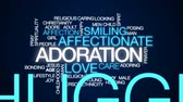 caring : Adoration animated word cloud, text design animation.