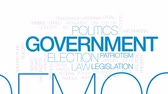 government district : Government computing animated word cloud, text design animation. Kinetic typography. Stock Footage