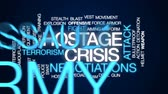 armor : Hostage crisis animated word cloud, text design animation.