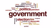 debates : Government computing animated word cloud, text design animation. Stock Footage