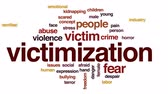 victimization : Victimization animated word cloud, text design animation.