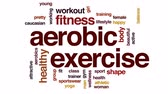 wellbeing : Aerobic exercise animated word cloud, text design animation. Stock Footage
