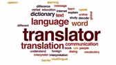 překlad : Translator animated word cloud, text design animation. Dostupné videozáznamy