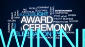 кинозвезды : Award ceremony animated word cloud, text design animation. Стоковые видеозаписи
