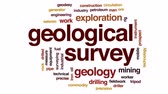 drilled : Geological survey animated word cloud, text design animation.