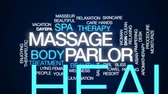estância termal : Massage parlor animated word cloud, text design animation. Vídeos