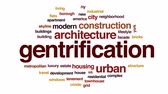 borough : Gentrification animated word cloud, text design animation.