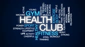 kas inşa : Health club animated word cloud, text design animation. Stok Video