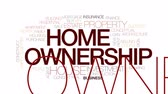 ипотека : Home ownership animated word cloud, text design animation. Kinetic typography.