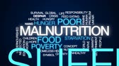 человечество : Malnutrition animated word cloud, text design animation. Стоковые видеозаписи