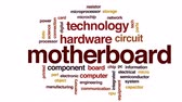 mikroişlemci : Motherboard animated word cloud, text design animation.