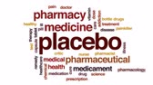 pharmacienne : Nuage de mot animé Placebo, animation de conception de texte.
