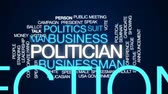 Politician animated word cloud, text design animation. Wideo