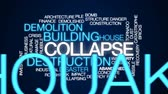 deprem : Collapse animated word cloud, text design animation. Stok Video